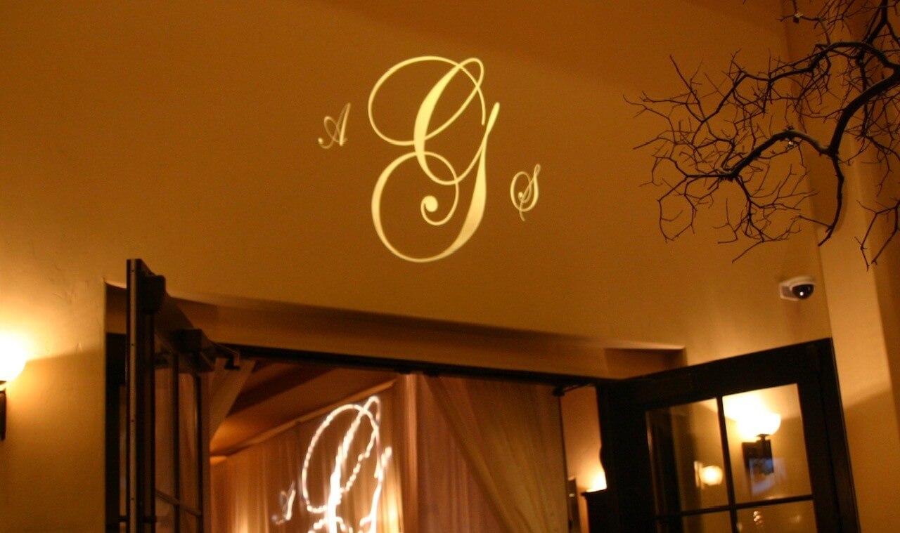 wedding dj Monogram lighting